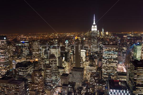 Nowy Jork wieżowce noc działalności miasta jabłko Zdjęcia stock © Elnur
