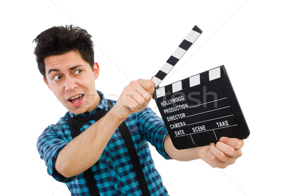 Man with movie clapperboard isolated on white Stock photo © Elnur