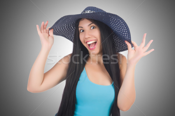 Nő visel Panama kész nyári vakáció lány Stock fotó © Elnur