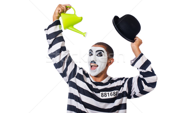 Funny prisoner with hat isolated on white Stock photo © Elnur
