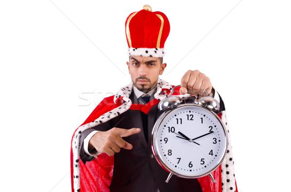 Foto d'archivio: Uomo · re · clock · isolato · uomo · bianco · bianco