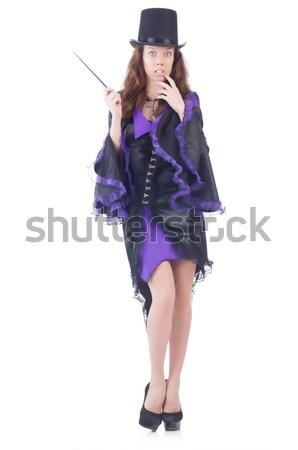 Сток-фото: девушки · фиолетовый · черное · платье · изолированный · белый