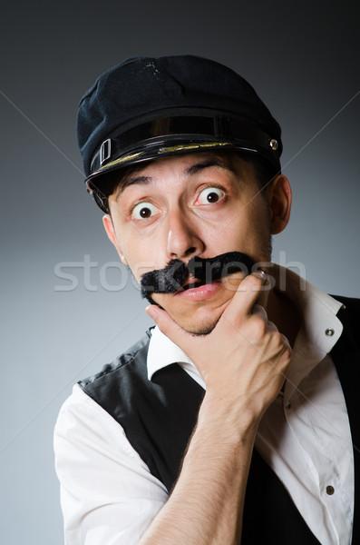 Vicces taxi sofőr visel sapka férfi Stock fotó © Elnur