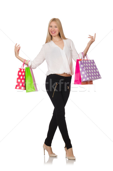 Woman many shopping bags after shopping isolated on white Stock photo © Elnur