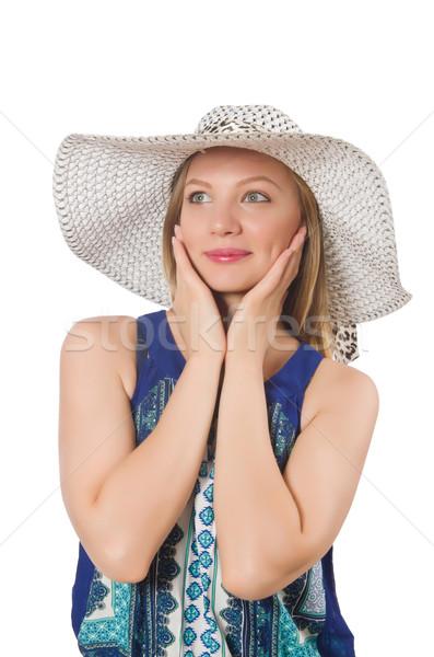 Fiatal nő divat nő tengerpart kék ruházat Stock fotó © Elnur