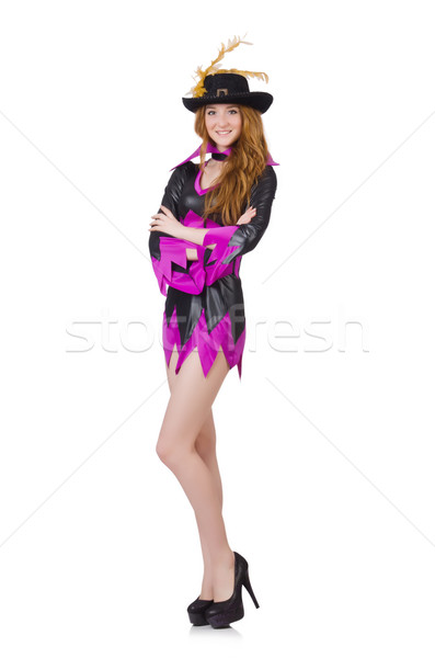 1d862e596393 Girl in purple masquerade isolated on white stock photo © Elnur ...