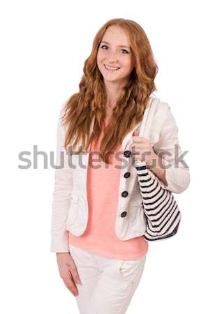 Cute smiling girl in light short coat with handbag isolated on white Stock photo © Elnur