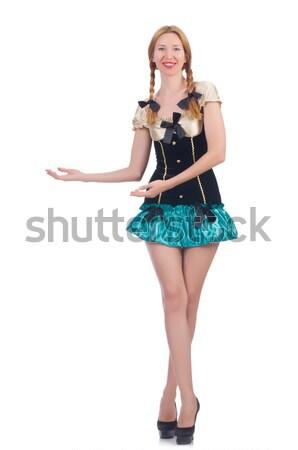 Blond hair girl in mini blue dress isolated on white Stock photo © Elnur
