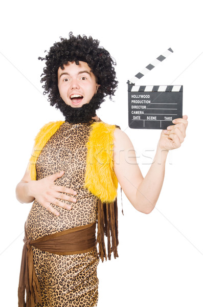 Cave man with movie board isolated on white Stock photo © Elnur