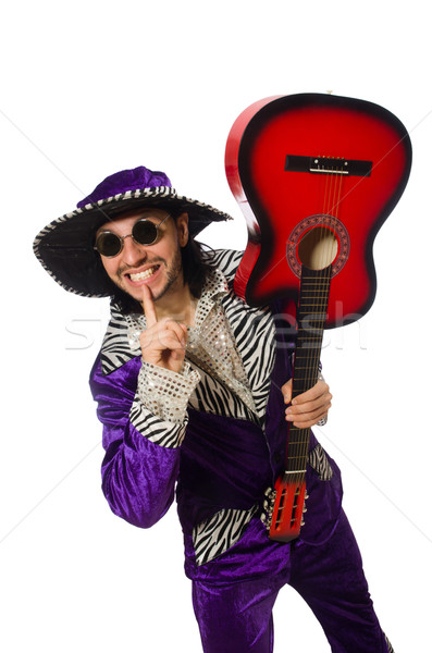 Man in funny clothing holding guitar isolated on white Stock photo © Elnur