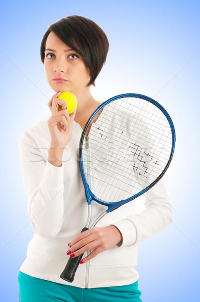 Fiatal lány teniszütő izolált fehér sport sportok Stock fotó © Elnur
