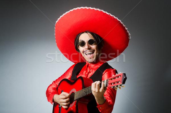 Mexicaanse gitarist Rood partij disco rock Stockfoto © Elnur