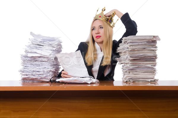 Foto stock: Mujer · mujer · de · negocios · de · trabajo · aislado · blanco · funny