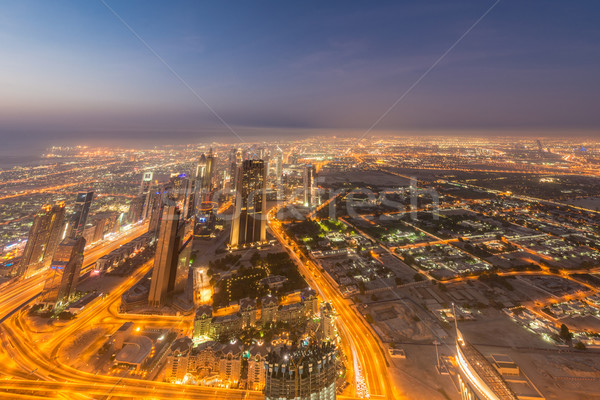 Panorama notte Dubai tramonto cielo acqua Foto d'archivio © Elnur