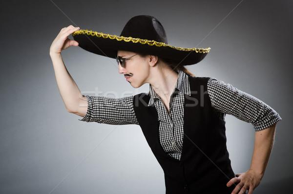Kişi geniş kenarlı şapka şapka komik parti Stok fotoğraf © Elnur