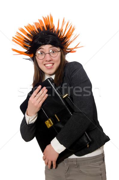 Funny mujer de negocios negocios blanco trabajo pelo Foto stock © Elnur