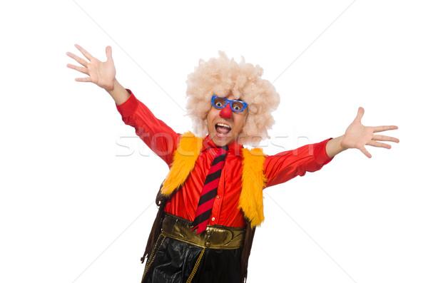 Funny clown zabawy odizolowany biały uśmiech Zdjęcia stock © Elnur