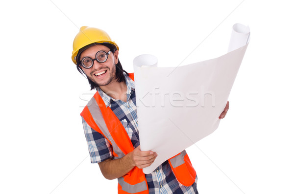 Funny engineer isolated on the white white Stock photo © Elnur