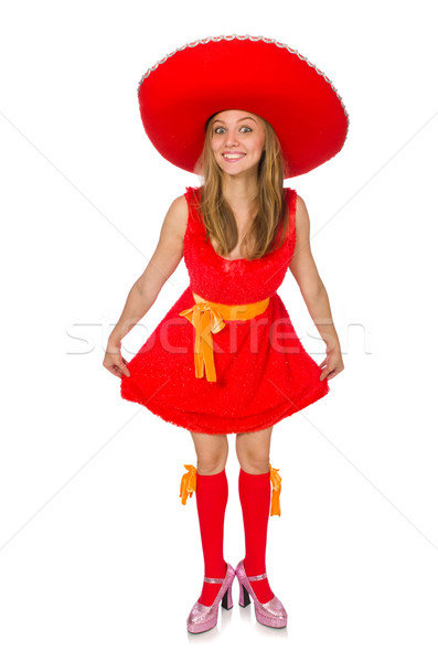 Stock photo: Woman wearing sombrero on the white