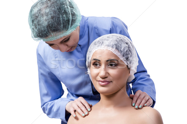 Jeune femme chirurgie esthétique isolé blanche fille mains Photo stock © Elnur