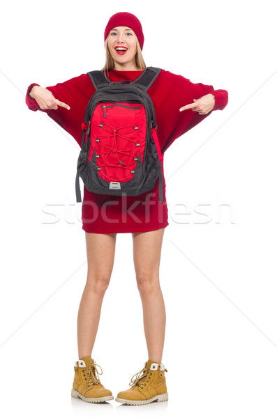 Pretty girl in red dress and backpack isolated on white Stock photo © Elnur