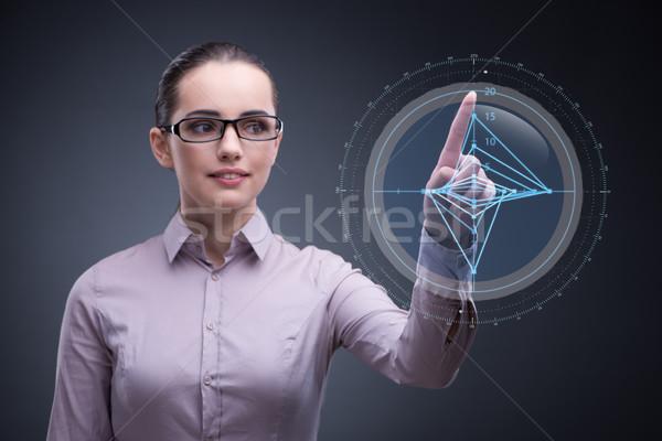Zakenvrouw werken grafiek business vrouw hand Stockfoto © Elnur