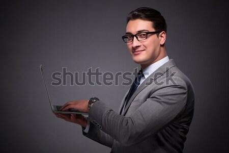 Kobieta interesu kubek trofeum odizolowany biały biznesmen Zdjęcia stock © Elnur