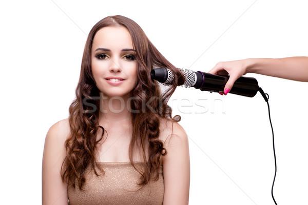 красивая женщина волос фен изолированный белый улыбка Сток-фото © Elnur