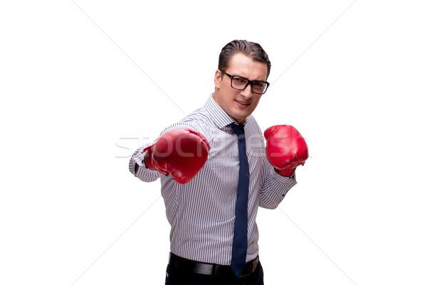 Agressief zakenman bokshandschoenen geïsoleerd witte business Stockfoto © Elnur