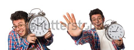 Stock photo: Young man with clock isolated on white