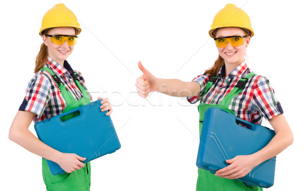 Woman in green coveralls isolated on white Stock photo © Elnur