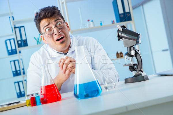 Komik deli kimyager çalışma laboratuvar cam Stok fotoğraf © Elnur