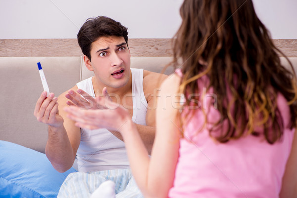 The man husband upset about pregnancy test results Stock photo © Elnur