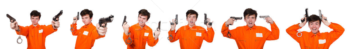 Stock photo: The funny prison inmate in concept