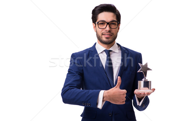 Hipster businessman receiving award isolated on white Stock photo © Elnur