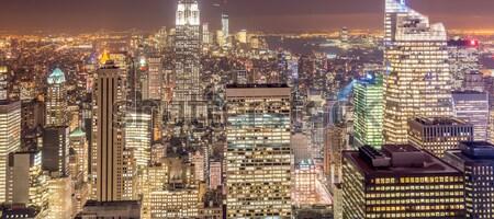 Vista Nueva York Manhattan puesta de sol negocios cielo Foto stock © Elnur