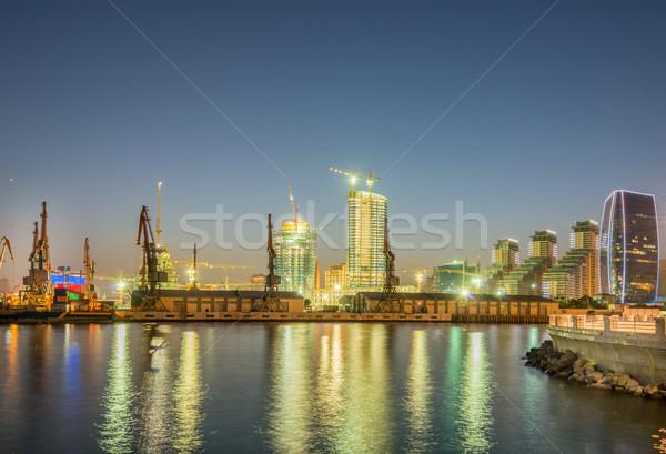 The night view of sea port in baku azerbaijan Stock photo © Elnur