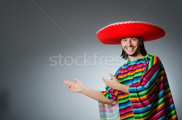 Férfi élénk mexikói szürke izolált boldog Stock fotó © Elnur