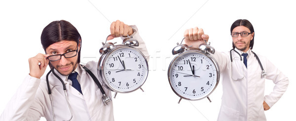 Man doctor with clock isolated on white Stock photo © Elnur