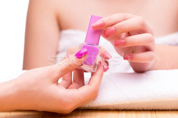 Woman hands during manicure session Stock photo © Elnur