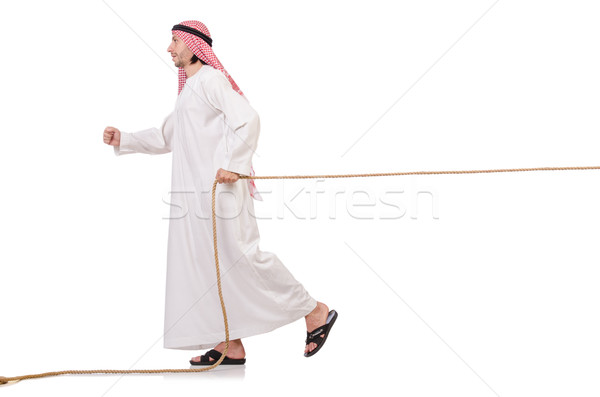 Arab in tug of war concept on white Stock photo © Elnur
