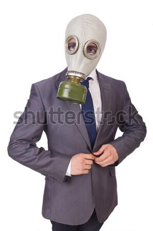Affaires masque à gaz isolé blanche homme Photo stock © Elnur