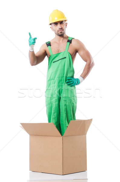Man in coveralls with boxes Stock photo © Elnur