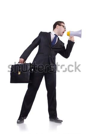 Woman businesswoman with loudspeaker on white Stock photo © Elnur