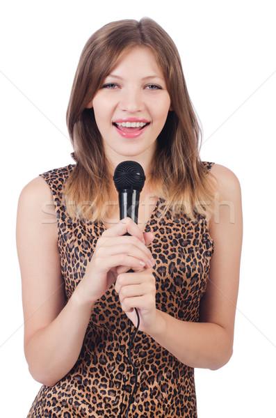 Kadın şarkıcı mikrofon beyaz parti saç Stok fotoğraf © Elnur