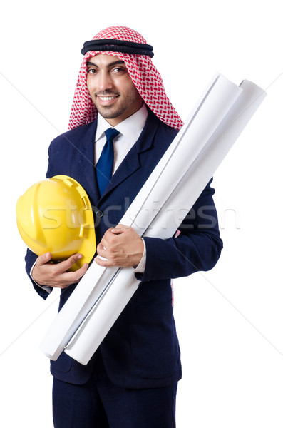 Arab engineer with drawings on white Stock photo © Elnur