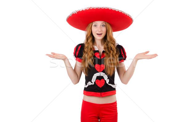Vicces mexikói szombréró boldog retro női Stock fotó © Elnur
