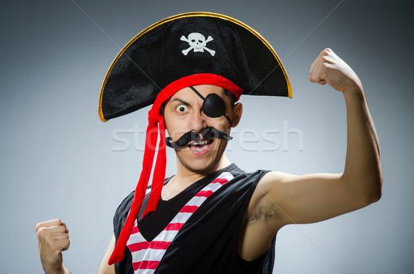 Grappig piraat donkere studio hand zwarte Stockfoto © Elnur