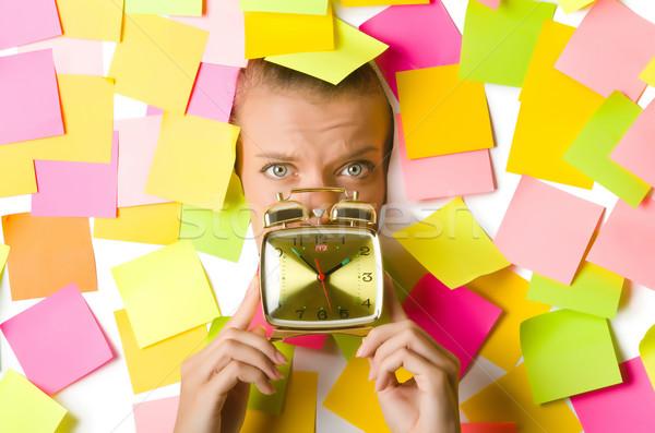 Kobieta zegar działalności uśmiech twarz pracy Zdjęcia stock © Elnur