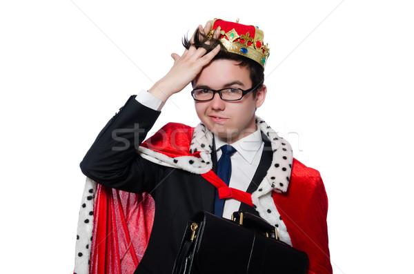 Empresário coroa isolado branco trabalhar fundo Foto stock © Elnur